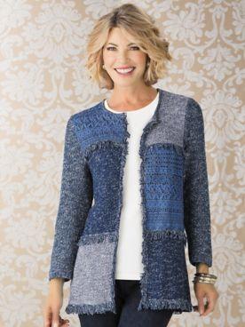 Alfred Dunner Long Sleeve Fringe Sweater Cardigan