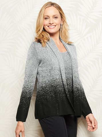 Ombré Shimmer Long Sleeve Cardigan Sweater - Image 1 of 4