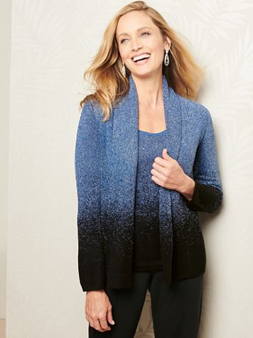 Ombré Shimmer Long Sleeve Cardigan Sweater - Image 1 of 3
