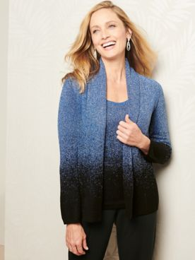 Ombré Shimmer Long Sleeve Cardigan Sweater