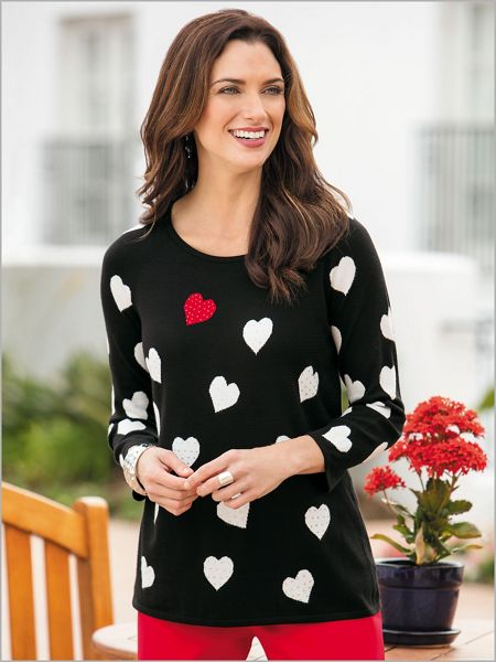 Discount Bejeweled Heart Sweater