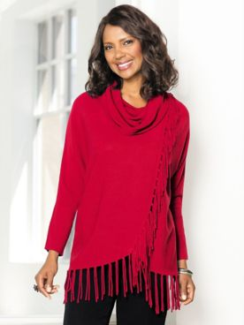 Fringe Cowl Neck Long Sleeve Sweater