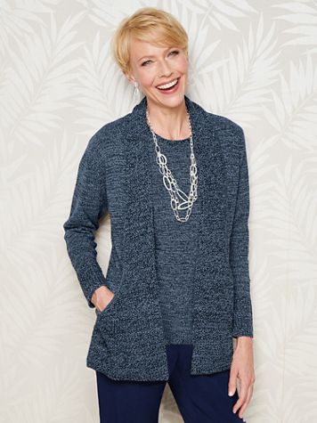 Marled Long Sleeve J Pocket Sweater Cardigan - Image 1 of 9