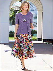 Botanical Bliss Cardigan & Print Skirt