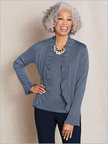 Shimmer Ruffle Front Cardigan - Image 1 of 3