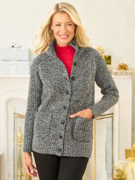 Marled Long Sleeve Sweater Jacket