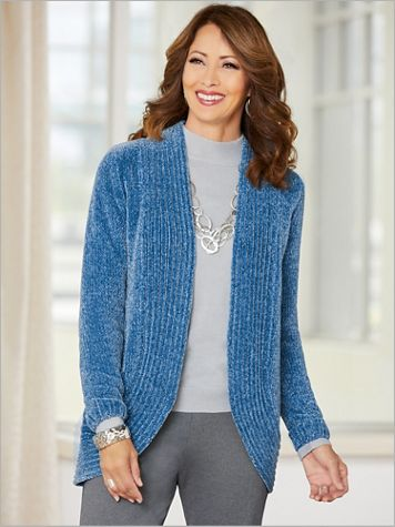 Chenille Cocoon Long Sleeve Cardigan Sweater - Image 5 of 7