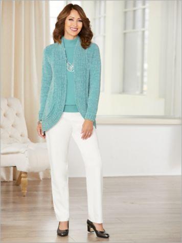 Chenille Cocoon Cardigan & Slimtacular® Ponte Pants