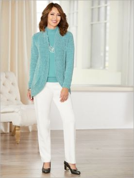 Chenille Cocoon Cardigan & Slimtacular® Ponte Pants