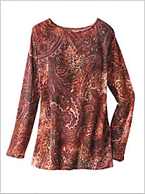 Paisley Print Shimmer Sweater