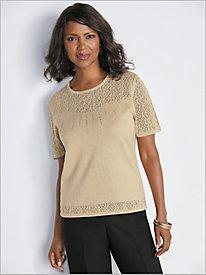 Beaded Pointelle Yoke Shimmer Sweater by Alfred Dunner