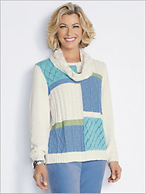 Colorblock Sweater With Scarf by Alfred Dunner