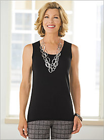 Sleeveless Jewel Neck Sweater