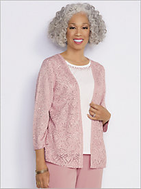 Pointelle Sequin 2-Fer Sweater by Alfred Dunner