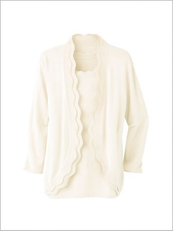 Scallop Sweater Cardigan - Image 2 of 2