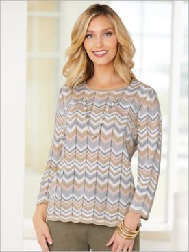 Boardroom Zig Zag Stitch Sweater by Alfred Dunner
