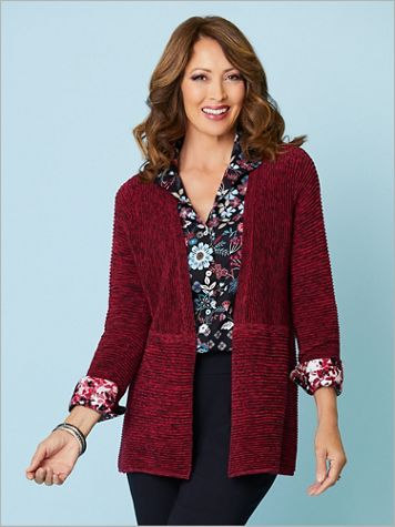 Marled Ribbed Stitch Open Front Cardigan by Foxcroft - Image 1 of 5