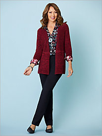 Marled Ribbed Cardigan & Floral Medallion Print Shirt by Foxcroft
