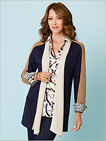 Colorblock Open Front Cardigan by Foxcroft