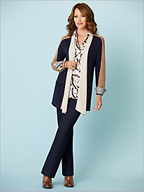 Colorblock Cardigan & Equestrian Print Shirt by Foxcroft