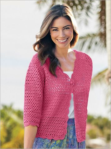 Norm Thompson 3/4 Sleeve Crochet Cardigan - Image 3 of 3