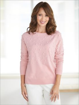 Silver Belles Faux Pearl Embellished Sweater by Ruby Rd.