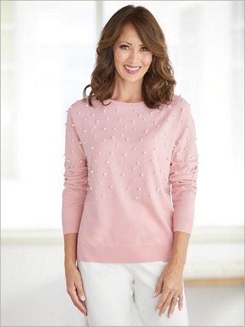 Silver Belles Faux Pearl Embellished Sweater by Ruby Rd. - Image 2 of 2