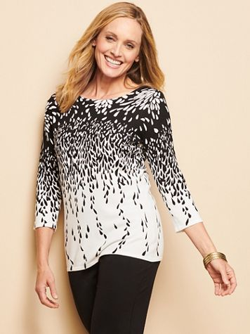 Floral Burst Border 3/4 Sleeve Sweater - Image 1 of 6