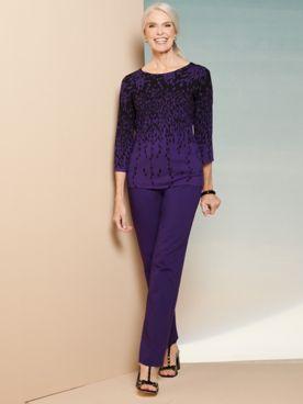Floral Burst Border Sweater & Slimtacular® Ponte Pants