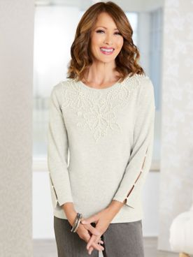 Alfred Dunner Pearl Yoke Long Sleeve Sweater