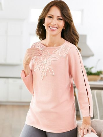 Alfred Dunner Pearl Yoke Sweater - Image 1 of 2