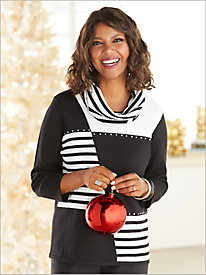 Patch Stripe Sweater with Detachable Scarf by Alfred Dunner