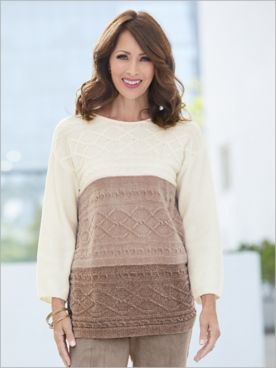 First Frost Cable Stitch Ombre Chenille Sweater by Alfred Dunner