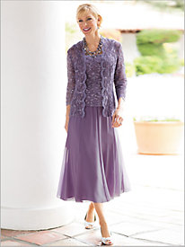 Radiant Lace Twin Set & Chiffon Tea Length Skirt by Alex Evenings