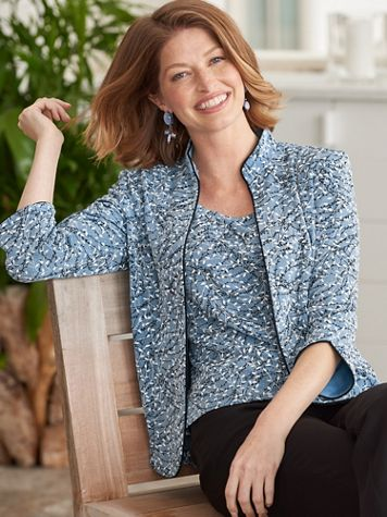 Alex Evenings Mandarin Vine Special Occasion Knit Twin Set - Image 3 of 3