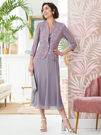 Alex Evenings Soft Spring Special Occasion Knit Jacket Dress - Image 1 of 3