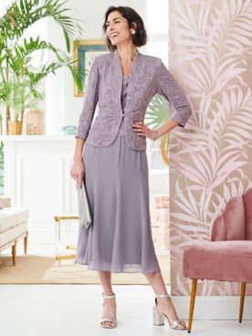 Alex Evenings Soft Spring Special Occasion Knit Jacket Dress