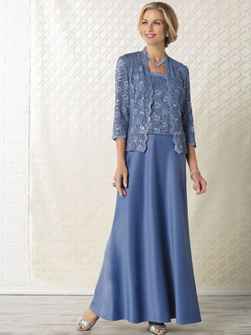 Scallop Lace Jacket Gown by Alex Evenings - Image 1 of 3