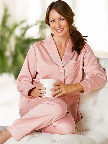 Brushed Back Satin Pajama Set - Image 2 of 2