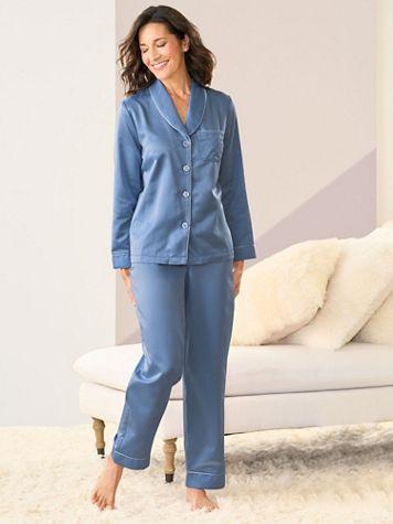 Brushed Back Satin Pajama Set - Image 2 of 3