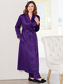 Brushed Back Satin Tie Front Robe