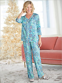 ¾ Sleeve Cardigan Pajama Set
