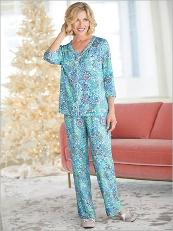 ¾ Sleeve Cardigan Pajama Set - Image 1 of 3