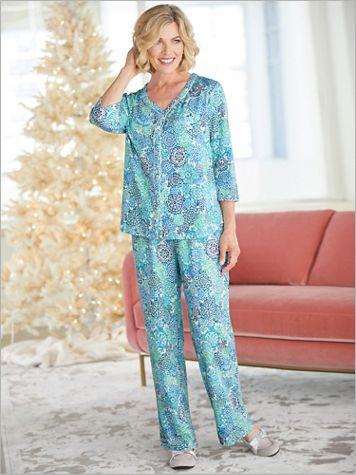 ¾ Sleeve Cardigan Pajama Set - Image 0 of 1