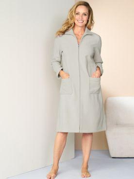 Fleece Zip Front Long Sleeve Robe