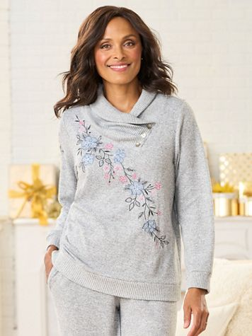 Alfred Dunner Split Button Cowl Neck With Embroidery - Image 1 of 3