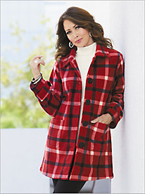 Plaid Fleece Topper Coat by Brownstone Studio®