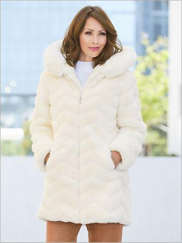Chevron Faux Fur Coat - Image 4 of 4