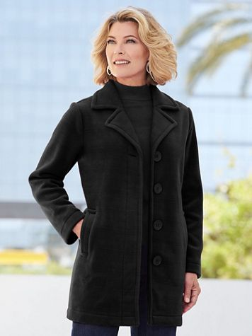 Fleece Button Front Long Sleeve Coat