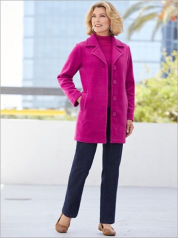 Fleece Button Front Coat & Slimtacular® Denim Pants